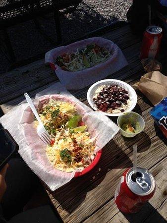 Finns Island Style Grub: Blackened Shrimp Tacos, Rice & Beans