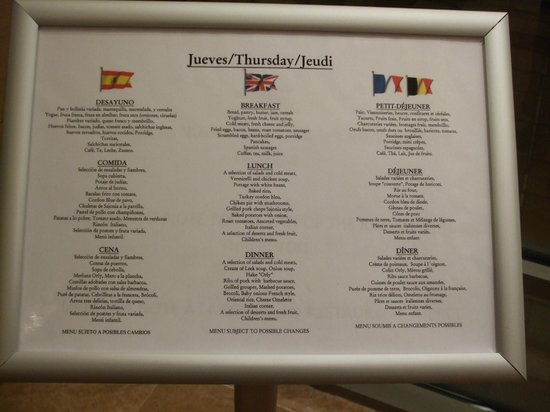 Hotel Mediterraneo Benidorm: Menu Board outside Restaurant
