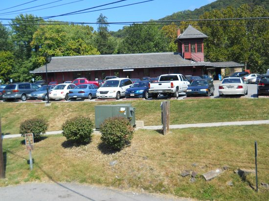 Private Quinn's Pub: View from the deck towards the train depot