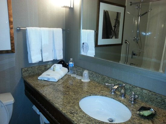 The Westin Copley Place, Boston: Bathroom with tub/shower - very nice shower head