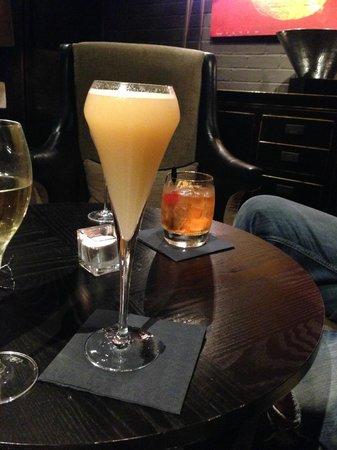Dakota Edinburgh: rhubarb and peach bellini and an old fashioned