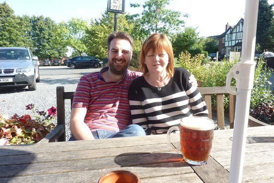 The Plough Inn, Claverley: My son and wife outside The Plough
