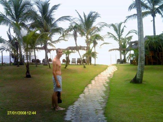 Pousada Verde Agua: Jardim onde se localizam os chalés, com acesso à Praia de Araçaípe.