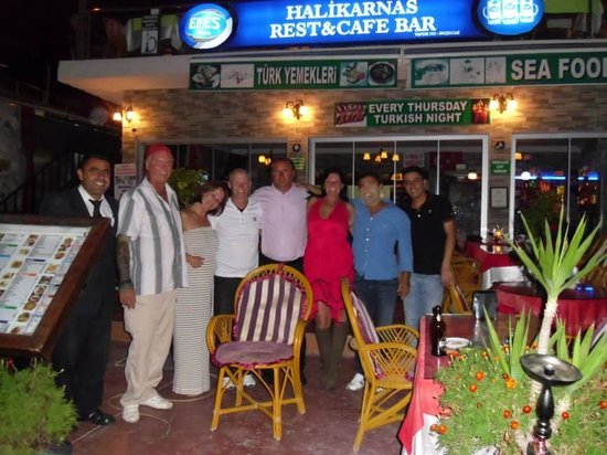 Halikarnas Restaurant: Us with some of the staff