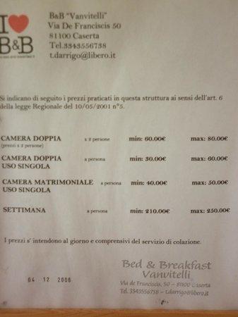 B&B Vanvitelli: prezzi