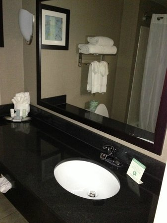 Comfort Suites Whitsett - Greensboro East: Bathing items provided. There's also enough room for the newspaper when not needed.