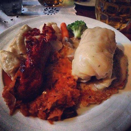 Szalas Restaurant : Polish Platter - kiebalsa over hunter's stew, stuffed cabbage w/mushroom sauce on top of potato