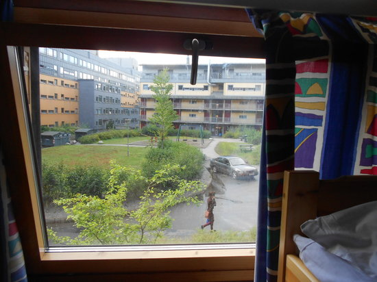 Anker Hostel: nice view from the room, and the curtain that can't stand the midnightsun