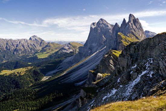 Seceda: view of Gruppo Stevia after a short hike