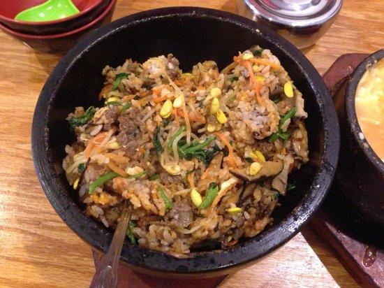Dolsot bibimbap after stirring picture of asiana korean for Asiana korean cuisine restaurant racine