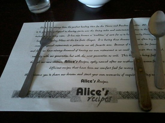 Alice's Recipes : Table Mat narrates the restaurant's history