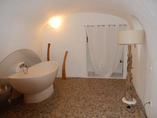 Caldera Villas: The second room of our two room suite. Closet for handing clothes with shower curtain for a door