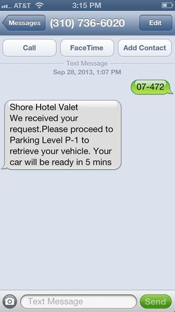 shore hotel the text message system to retrieve your car from valet parking