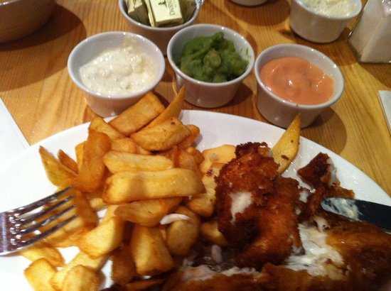 Whartons Traditional Fish & Chips: Already half eaten scrummy plateful