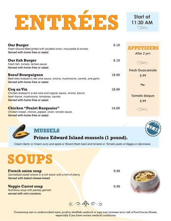 Bonjour French Cafe Siesta Key Menu