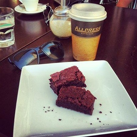 X74 Cafe Restaurant: Chewy in-house brownie washed down with a Mocha