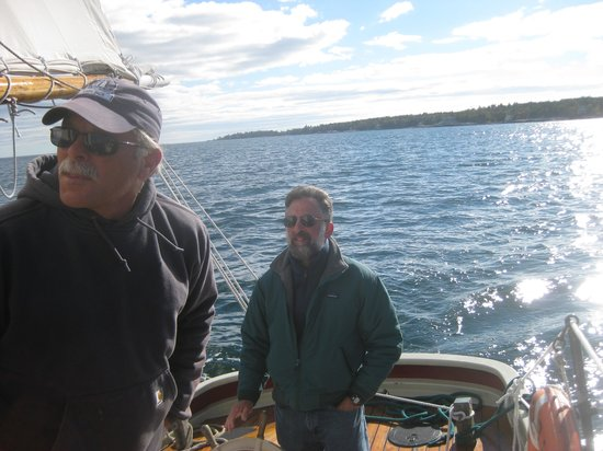 Schooner Lazy Jack: Capt Joe and Eric at the wheel