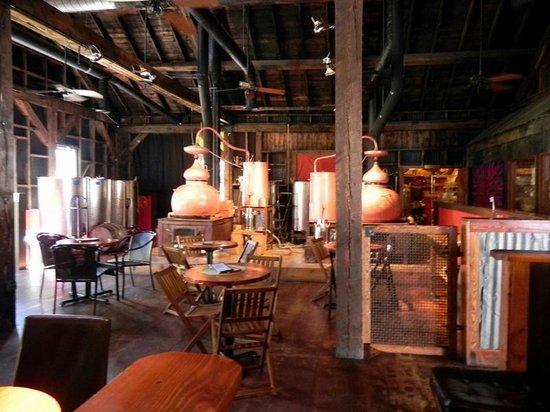 Montanya Distillers: Table Seating near Distillery Area