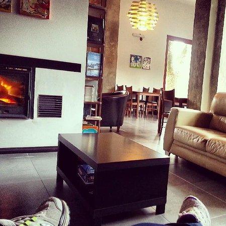 Posada Las Terrazas: Relaxando em frente à lareira