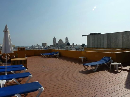 Senator Cadiz Spa Hotel : Roof Terrace with Cathedral in the background