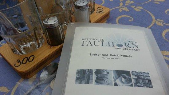 Berghotel Faulhorn: Menu - Faulhorn