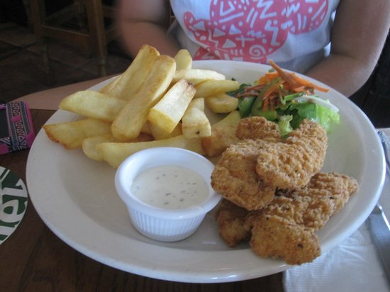 Triple Crown Irish Pub : Chicken tenders, salad and chips