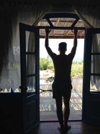 9 Muses Patmos: Our room, looking out into the Mediterranian sea