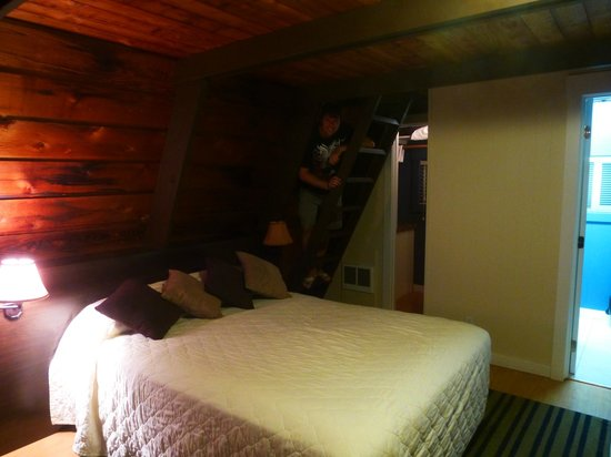 Pacific Reef Hotel: Inside the Cabin - stairs to loft