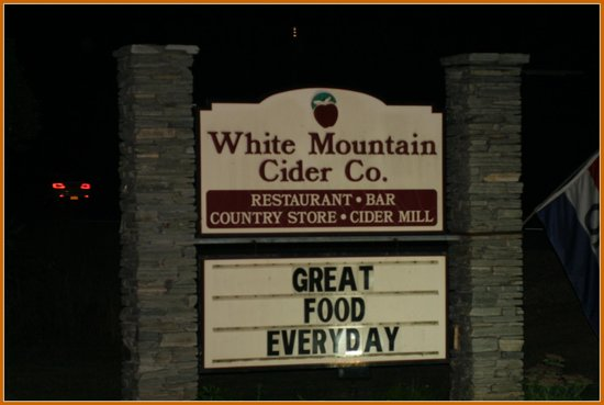 White Mountain Cider Company: the sign at the road