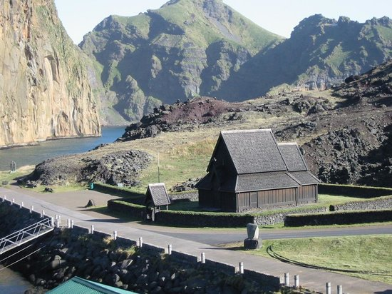 Heimaey Island, Iceland: Church at entrance to harbor
