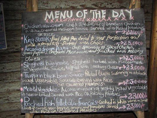 Arcadia Cottages, Lake Mburo: menu for evening meals