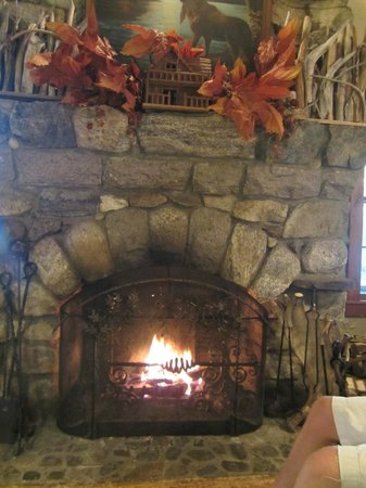 The Hedges: The beautiful fireplace in the Dining Lodge