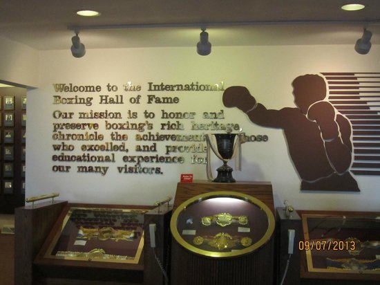 International Boxing Hall of Fame: Greeting on the wall as you enter the hall