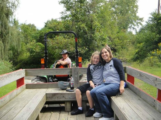 Pinegrove Family Dude Ranch: Wagon Ride to the pond!