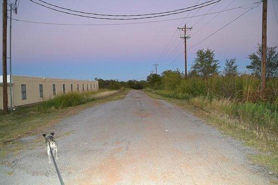Econo Lodge Shamrock: dirt road behind the motel