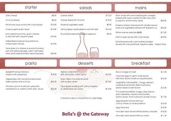 Manjimup Gateway Hotel: Bella's Cafe & Wine Bar Menu