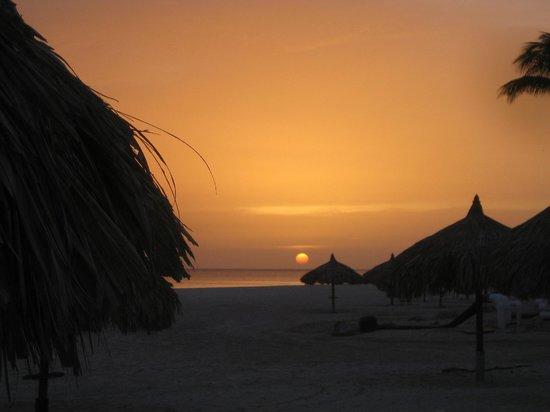Manchebo Beach: Sun set on the beach at DIvi