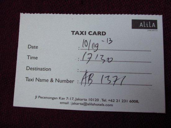 Alila Jakarta: Taxi card