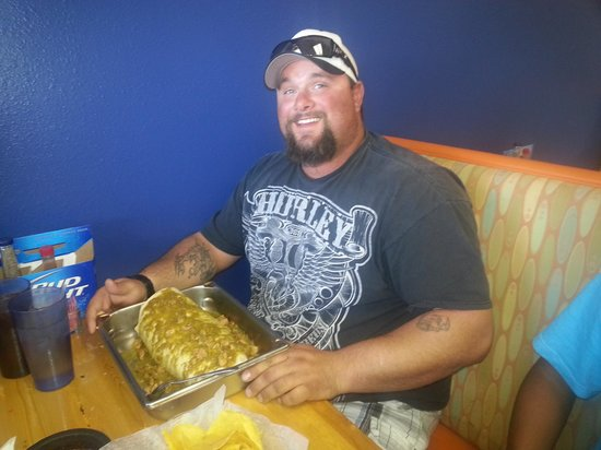 Fiesta Tequila: our 7lb burrito challenge and the first to finish it in 60 min!