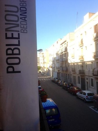 Hostal Poblenou Bed & Breakfast: view of street from little balcony