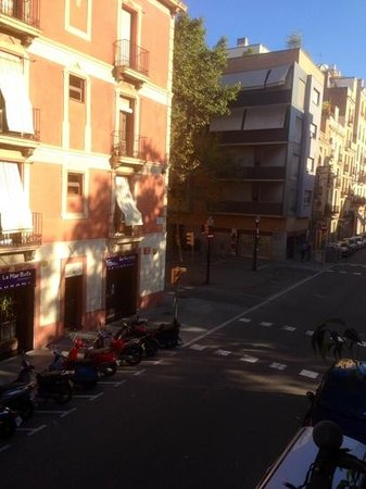 Hostal Poblenou Bed & Breakfast: another view of street, little bar tucked around the corner