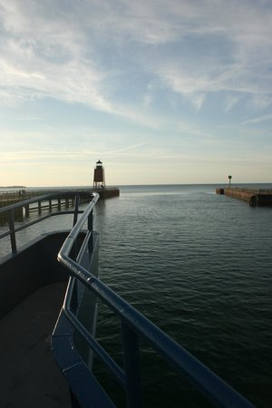 Keweenaw Star Excursions : View of Harbor, Light House, and Lake Michigan