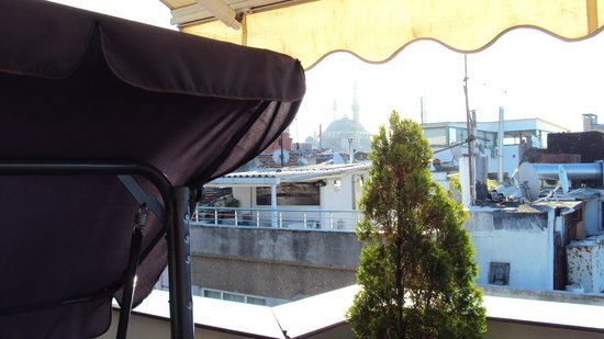 Ferman Sultan Hotel: View of Blue Mosque From Roof Terrace