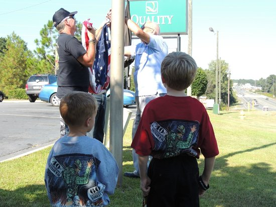 Quality Inn Americus: Flag raising ceremony at the Quality Inn