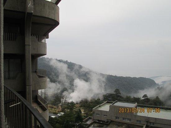 Kirishima Iwasaki Hotel: 部屋から眺めた露天風呂の湯気