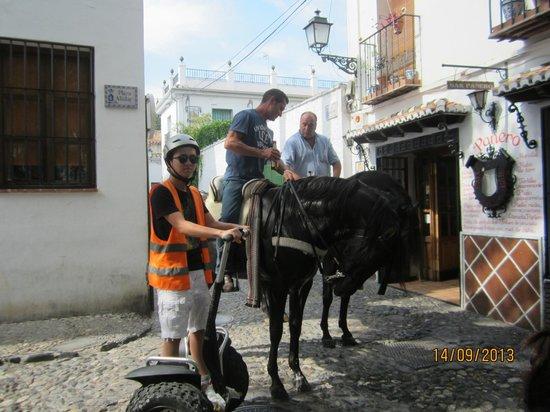 Play Granada: locals on horseback having a beer