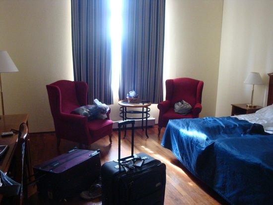 First Hotel Marin: Large window, no mini fridge