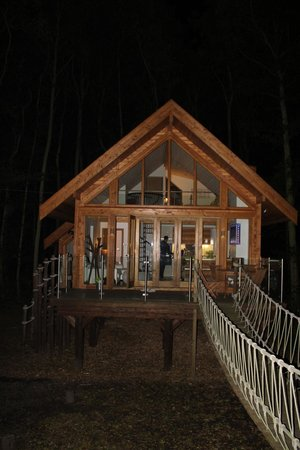Cleveleymere The Lake House : Tree house by night