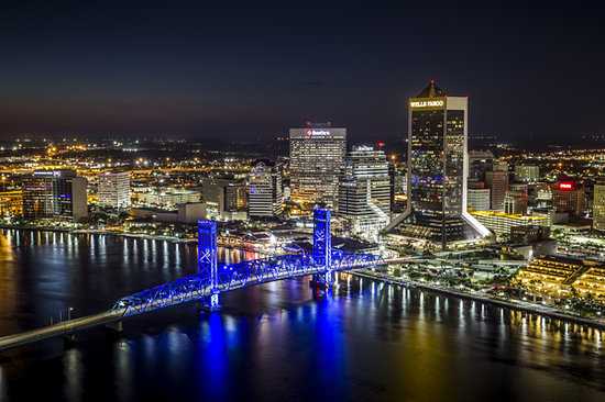 The Jacksonville Skyline At Night Picture Of