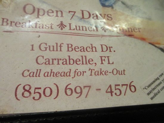 2 Brothers at the Beach Cafe: Information on Two Al's Restaurant - Carrabelle, FL